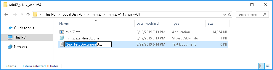 "Create batch file for Windows mining. Change file name to Ex. ""miniZ_zel.bat"""