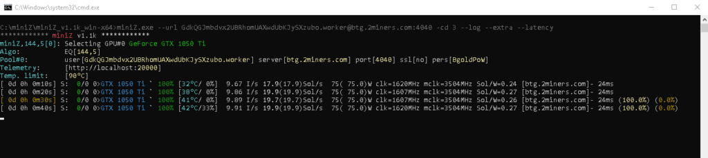 miniZ mining BTG on Windows